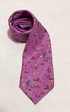 Holland And Sherry London Mens 100% Silk Neck Tie Purple Sea Graphics