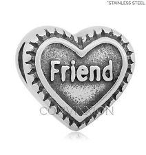 STAINLESS Steel European Charm Bead Friend Heart Family Dark Love vix4pandora