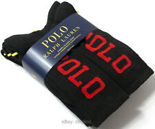 6 Pairs Pack Polo Ralph Lauren Cushioned Stretch Crew Sport Socks Black Red Men