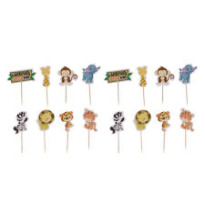 48pcs Jungle Safari Zoo Animal Cupcake Toppers Baking Accessories Photo Prop