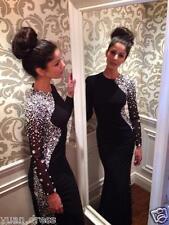 Black Long Sleeve Mermaid Elegant Crystals Prom Dresses Formal Evening Ball Gown