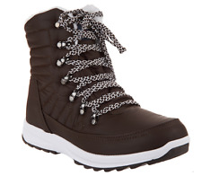 Khombu Waterproof Lace-up Ankle Boots - Alegra Chocolate Brown Women's Size 9W