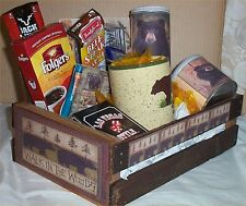 Bear Hunters Wood Crate Gift Basket Coffee Mug Mens Candy Nuts Cards Jerky
