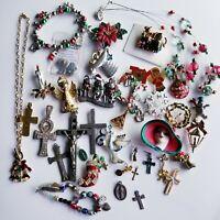 35+ VTG Modern Christmas + Religious Pins Brooches Bracelet Pendant Jewelry Lot