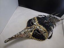 Mardi Gras Full Size Venetian Mask Feathers and Se-quince Halloween Deco MASK