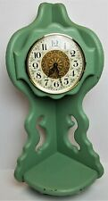 Vintage Clock Handmade Solid Wood Corner Mount Wall Clock Painted With Shelf 198