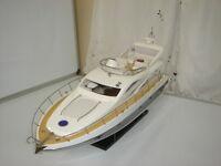 "Sunseeker high quality handcraft wooden model ship speed boat 35"" white & blue"