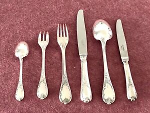 CHRISTOFLE MARLY SILVERPLATED FLATWARE SET 36 PC/ 6 PEOPLE *EXCELLENT*