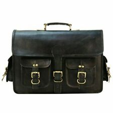 "18"" Messenger Shoulder Bag Laptop Briefcase Travel Men's Handmade Black Leather"