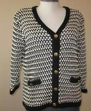 CAbi womens Large Coco cardigan black white #868 Classic cotton classy sweater