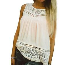 Hot Casual Women Summer Lace Splice Chiffon Vest Top Sleeveless Blouse Tank Tops
