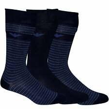 Emporio Armani 3-Pack Plain & Stripe Eagle Logo Men's Socks, Blue