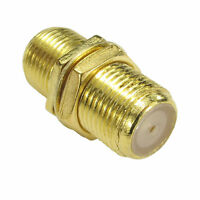 F Type Connector Coupler Join Satellite Virgin Cables with Nut GOLD [008516]