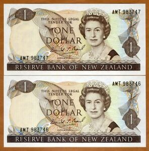 SET New Zealand, 2 x $1, Consecutive Pair,  ND (1989-1992), P-169c, QEII, UNC