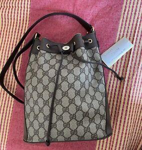 Gucci Bucket Bag Drawstring Bag Shoulder  Vintage Sherry Line Handbag Monogram
