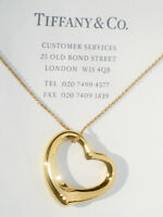 Tiffany & Co Elsa Peretti 27mm 18Ct 18K Gold Open Heart Pendant Necklace