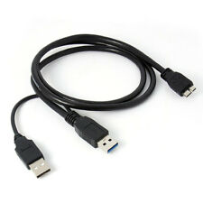 A Double A Micro USB B 3.0 Y-Cable Move Hard Drive Cable Black X2U6