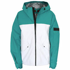 BURBERRY SPORT green white taped seam waterproof coat hooded zip jacket XXL NEW