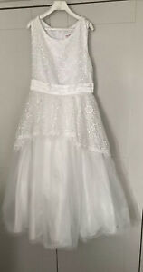 GIRL'S WHITE FLOWER GIRL, WEDDING, PARTY, PRINCESS DRESS,  AGE 12 YEARS