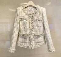 Womens Ladies Fashion Tweed Pearls Frayed Short Coat Jacket Blazer Outwear SKGB