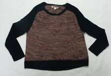 Roxy Woman Shadow Play Pink & Black Scoop Sweater Size Medium