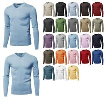 FashionOutfit Men's Top Casual Solid Soft Knitted Long Sleeves V-Neck Sweater