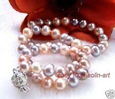 cadeau d'anniversaire ! 7-8 mm , multicolores,perles d'eau douce,collier, 43cm
