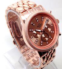 x128P Women Celebrity Wrist Watch Rose Gold Band Diamante Chronograp Quartz Dial