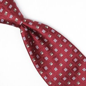 Robert Talbott Best of Class Mens Silk Necktie Burgundy Gray Blue Check Weave
