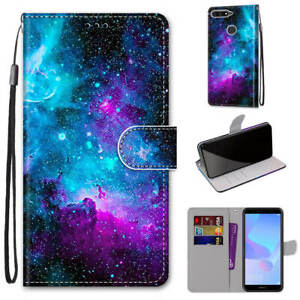 For Huawei Honor 8A Cute Painted Magnetic Leather Flip Wallet Bracket Case Cover