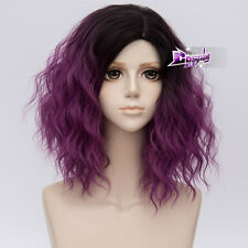 "Gothic Lolita 14"" Short Curly Black Mixed Dark Purple Cosplay Wig Heat Resistant"