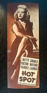 HOT SPOT 1941 ORIGINAL MOVIE HERALD. BETTY GRABLE, VICTOR MATURE, CAROLE LANDIS