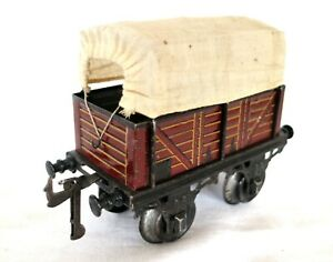 AC1828: Vintage Bing Gauge1 Canvas Covered Freight Wagon 10/520/1