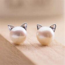 925 Sterling Silver - Korea Chic Pearl Cat Kitten Head Stud Party Club Earrings