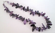 """925 Silver Pendant With Natural Amethyst Smooth Tumbled Nuggets 20"""" L  (nk1165)"""