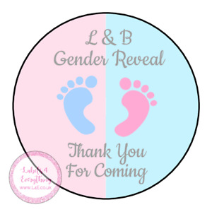 Personalised Gender Reveal Sweet Cone Stickers Boy Girl Baby Shower Party Pink