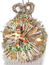 Christbaumschmuck um 1900 Ornament mit ENGEL Blüten Oblaten Dresdner Sterne