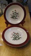 Set of 2 Wedgwood Mayfield Ruby Rimmed Soup Bowl England 1950's