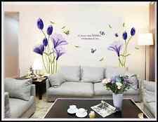 Romantic Purple Tulip flower Vinyl ART Decal Wall Sticker Home Decor 90*60CM UK