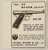 1950 Print Ad Ruger .22 Pistols Sturm Ruger Southport,CT
