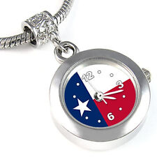 Texas State Flag Silver European Spacer Charm Bead Watch For Bracelet EBA461