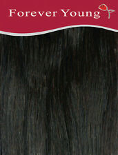 Forever Young 20-inch Long Black Number 1b Ladies Half Head Clip in Human Hair