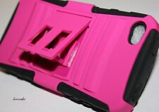 iPHONE 4 4G 4S HOT PINK HARD&SOFT RUBBER DUAL LAYER ARMOR IMPACT KICK STAND CASE
