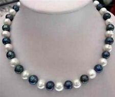 "NATURAL 8-9mm Black & White Akoya Cultured Pearl Fashion Necklaces 18""JN37"