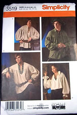 Simplicity Pattern 3519 Men's Teens Shirt Costume Frontiersman Pirate Colonial