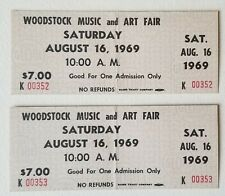 Woodstock 1969 Original sequential 2 Tickets Advance $7 Black Print Sat. Aug 16