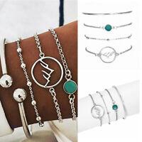 4Pcs/Set Fashion Women Silver Charm Stone Beads Bangles Chain Bracelets Jewelry