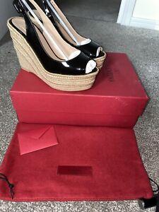 valentino Wedges Size 37 UK 4 Black Patent, Peep Toe Brand New