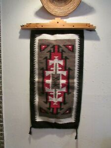"""Southwest  Two Grey Hills Navajo Wool Indian Designed 20"""" by 40""""  Style Rug!"""