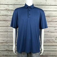 Greg Norman PlayDry ML75 Golf Polo Shirt LARGE Men's Blue Stripe Polyester